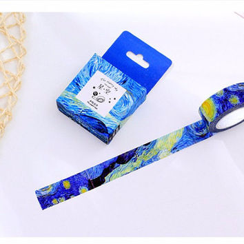Starry Night Washi Tape - Van Gogh Inspired Decorative Sticker Deco Tape, Shades of Blue Night Yellow Stars, Adhesive