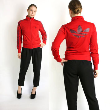 Vintage 90's Adidas Red  Three Stripes Sport Track Jacket, Adidas Windbreaker, Trefoil Jacket - Small