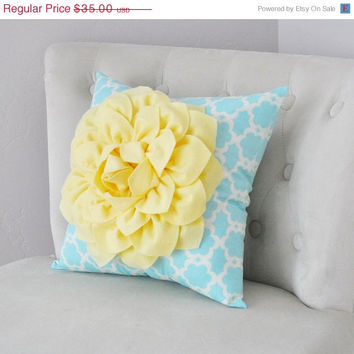 MOTHERS DAY SALE Light Yellow Dahlia Flower on Aqua Blue Tarika Pillow Accent Pillow Throw Pillow Toss Pillow