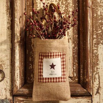 Vintage Hanging Burlap Bag - It Is What It Is - Star and Gingham (4-in x 7-in)