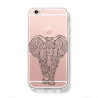 Tribal Elephant iPhone 6 Case, iPhone 6s Plus Case, Galaxy S6 Edge Clear Hard Case C042