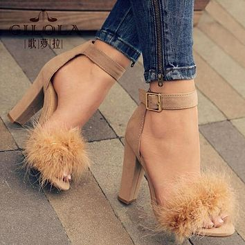 Women Fur 3 Inch Square Heel Stiletto With Ankle Pin Buckle Closure