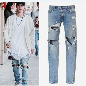 designer clothes men jeans rockstar blue colors ankle zipper destroyed skinny ripped masticate jeans