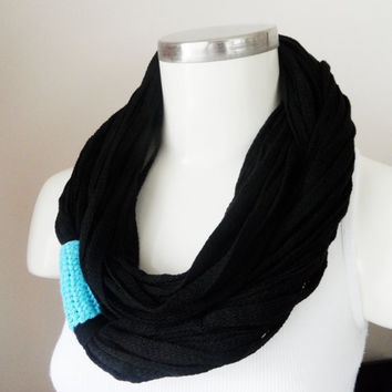 Handmade Infinity Eternity Scarf, Noodle Scarves, Cotton Fashion Neckwarmer Circle, Necklace Chunky Cowl Black, turquoise