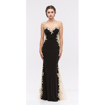 Sheath Mermaid Silhouette Gown Black Gold Floor Length Lace Trim