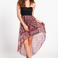 TRIBAL AND LACE HIGH LOW DRESS