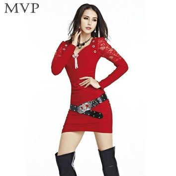 Lace Pencil Bodycon Dress V-neck Long Sleeve Slim Mini Dresses Solid with Belt