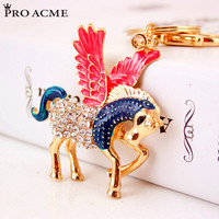 Chic Flying Pegasus Horse Rhinestone Enamel Key Chain Rings