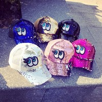 Summer Women Fashion Sequin Big Eyes Embroidery Gauze Flat Cap Hip-hop Baseball Cap Sun Hat