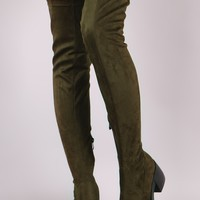 Stretch Suede Almond Toe Thigh High Boots