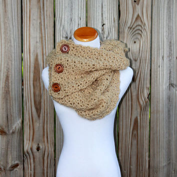 Crochet Button Infinity Scarf in Beige