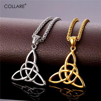 Collare Triple Horn Of Odin Stainless Steel Pendant Men Gold Color Necklace Women Pagan & Wiccan Symbols Jewelry P164