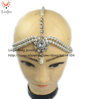 HC-143 Diamante head band hair jewelry wedding bridal head Jewelry birthday boho with Imitation Pearl