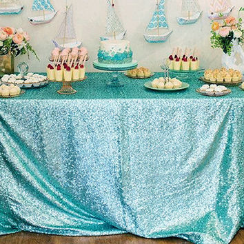 Turquoise Sequin Tablecloth   Rectangle Tablecloth, Sparkle Tablecloth,  Glitter Table Cover   Wedding /