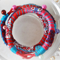 Recycled Textile Jewelry Fabric Bracelet  Mothers Day Red and Blue Spring Fashion Eco Friendly  Fabric Jewelry Allergy Free Jewelry
