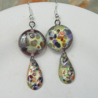 Lampwork Earrings, Enameled Copper, Handmade Jewelry for Mom on Mother's Day
