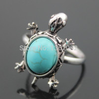 Antique Silver Cute Turquoise Turtles Opening Rings Tribal Design