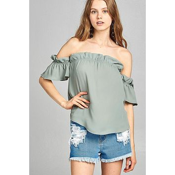 Ladies fashion short sleeve off the shoulder ruffled hem w/elastic detail wool dobby woven top