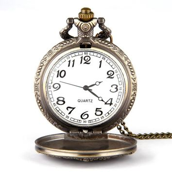 Vintage Bronze Great Wall Pendant Pocket Quartz Pocket Watch Pendant Necklace Retro Chinese the Great Wall Pendant Pocket #45