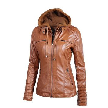 Valor Leather Hooded Basic Jacket