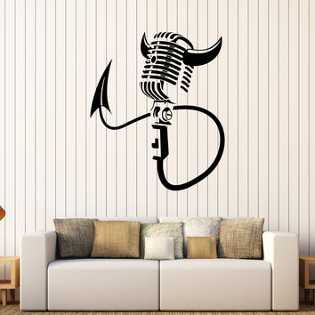 Vinyl Wall Decal Karaoke Microphone Singer Singing Devil Stickers Unique Gift (439ig)