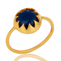 Stunning 14K Yellow Gold Plated Sterling Silver Blue Corundum Stack Ring