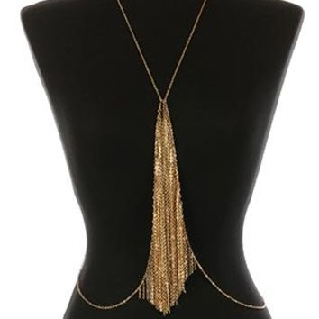 Body Chain Metal Chain Fringe Necklace And Layered 24 Inch Long 10 Inch Drop