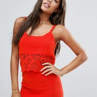 ASOS Crochet Co Ord with Crop Top and Skirt at asos.com