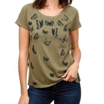 DCCKAB3 Lucky Brand Embroidered Butterfly Tee Dark Olive