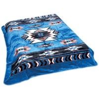 Blue Native American Print Blanket