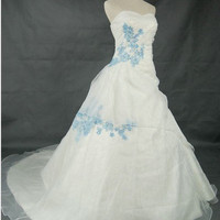 A-line Sweetheart Cathedral Train Satin Organza Wedding Dress With Applique Beading Free Shipping