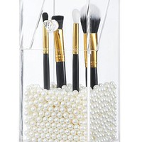 PuTwo Makeup Brush Holder Dustproof Acrylic Storage Box Makeup Organizer,  Pearl, Small, 37.39 Ounce