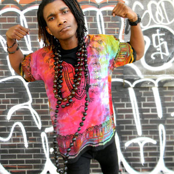 Vintage sTYLE Dashiki Top - Unisex Funky Tunic Cocoon Shirt Top - Tie Dyed - Hand Dyed - Rainbow Dye - One Size Fits Large L xLarge XL