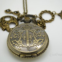 Anime Black Butler pocket watch necklace,with skull,glasses,chain,star and rose pendants-unisex