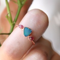 Opal and Ruby Trio Ring