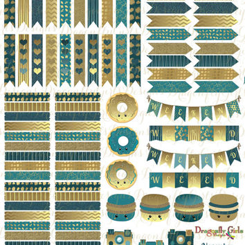 November Teal and Gold Printable Planner 98 Stickers Sheet 3 of Kit in PDF and jpeg Erin Condren Life Planner Kikkik Filofax