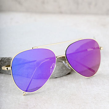 Perverse Bronson Gold and Purple Mirrored Aviator Sunglasses