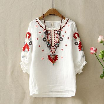 6ae8f52bab6 Ethnic Vintage White Floral Embroidered Blouses For Women Loose