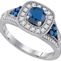 Blue Diamond Fashion Ring in 10k White Gold 1.03 ctw