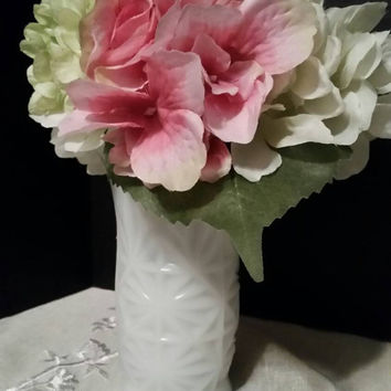 Enchanting Milk Glass Vase with Scalloped top by Hazel Atlas