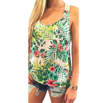 2017 Hot Summer Women Tops Sexy Sleeveless Floral Printed Blusas Embroidery Crochet Tank Tops Casual