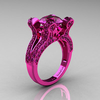 Satrina - French Vintage 14K Pink Gold 3.0 CT Amethyst Pisces Wedding Ring Engagement Ring Y228-14KPGAM