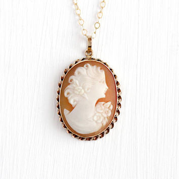 Vintage Cameo Necklace - 10k Rosy Yellow Gold Carved Shell Cameo Pendant - 1940s Oval Floral Twisted Scalloped Fine Jewelry on 14k GF Chain