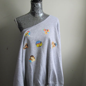 Saved By The Bell Off The Shoulder Over Sized Sweatshirt