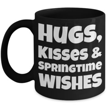 Spring Break Breakfast Mug Black Coffee Cup For Easter Gifts For Family Grandparent Grandma Granddad Wive Husband Him Her Couples Funny Sayings Holiday Tea Coffee Mugs Cups Hugs Kisses Springtime Mugs Holiday Gift 2017 2018