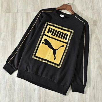 PUMA New fashion letter print couple long sleeve top sweater