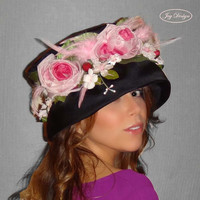 PENELOPE a Reconstructed Vintage Black Fabric Slouch Hat with Vintage Flowers and Appeal circa 1970's