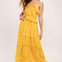 Adelyn Rae I Know Your Secret Golden Yellow Lace Maxi Dress