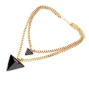 Black Double Layered Triangle Pendant Necklace