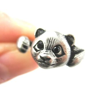 Small Panda Bear Animal Wrap Hug Ring in Silver - Size 4 to 8.5 Available